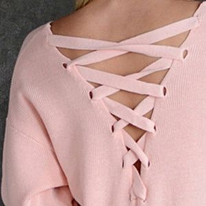 Simply Couture Sweaters - 🎉HP🎉  Pink Lace-Up Back V-Neck Sweater XL